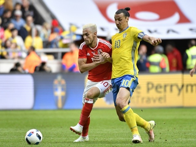 Aaron Ramsey of Wales and Zlatan Ibrahimovic of Sweden during the international friendly on June 5, 2016