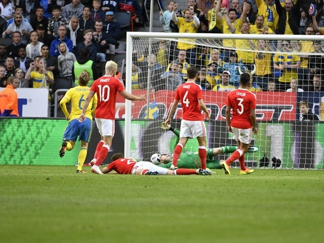 Emil Forsberg of Sweden scores the opening goal during the international friendly between against Wales on June 5, 2016