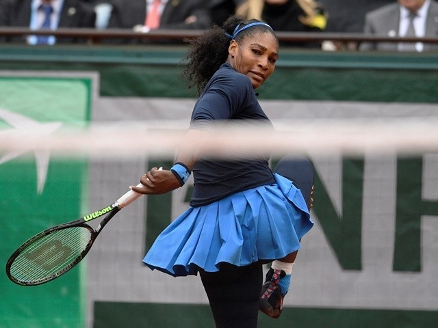 Serena Williams gestures during her women's semi-final match against Kiki Bertens at the French Open on June 3, 2016