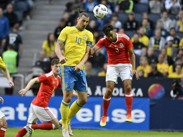 Zlatan Ibrahimovic of Sweden and Neil Taylor of Wales during the international friendly on June 5, 2016