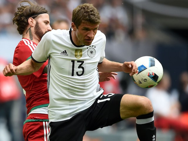 Thomas Muller and Tamas Kadar during the international friendly between Germany and Hungary on June 4, 2016