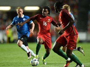 Portugal's Renato Sanches vies with Estonia's Ilja Antonov during the international friendly on June 8, 2016