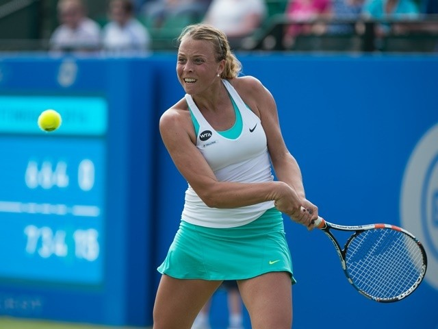 Anett Kontaveit in action during her women's singles match against Caroline Wozniacki of Denmark at the Nottingham Open on June 8, 2016