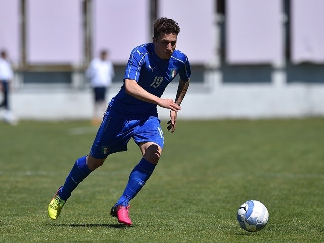 Leonardo Morosini of Italy U20 in action during the match between Italy U20 and Denmark U20 on April 27, 2016