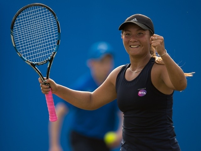 Tara Moore of Great Britain celebrates victory during her match against Christina McHale of USA at the Nottingham Open on June 9, 2016
