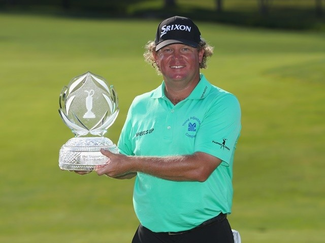 William McGirt poses with the trophy after winning The Memorial Tournament at Muirfield Village Golf Club on June 5, 2016