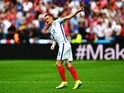 Jamie Vardy celebrates equalising during the Euro 2016 Group B game between England and Wales on June 16, 2016