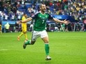 Niall McGinn celebrates scoring during the Euro 2016 Group C match between Ukraine and Northern Ireland on July 16, 2016