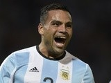 Gabriel Mercado celebrates after scoring for Argentina on March 29, 2016