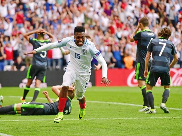 Daniel Sturridge celebrates scoring the winning goal during the Euro 2016 Group B game between England and Wales on June 16, 2016