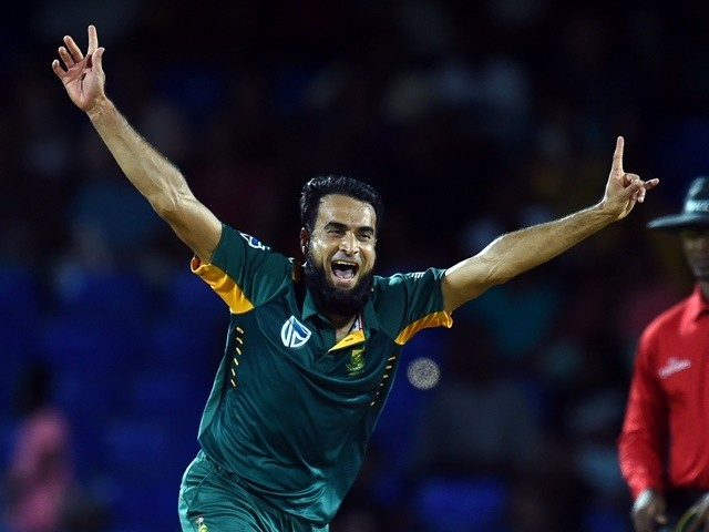 South African bowler Imran Tahir celebrates their victory after dismissing the last West Indies batsman Sulieman Benn on June 15, 2016
