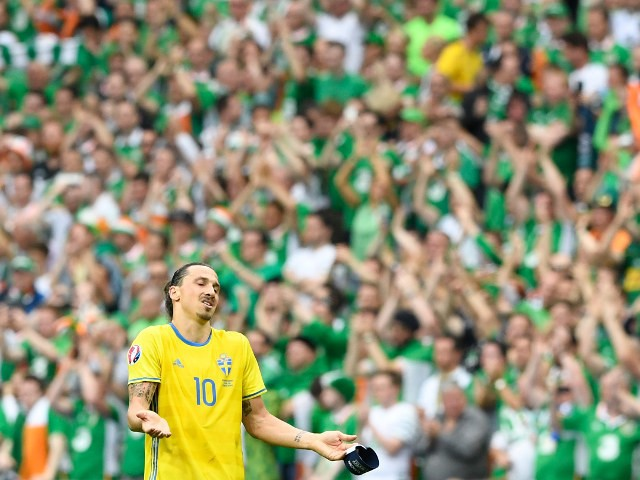 Sweden's forward Zlatan Ibrahimovic gestures at the end of the Euro 2016 group E football match between Ireland and Sweden at the Stade de France stadium in Saint-Denis, near Paris, on June 13, 2016