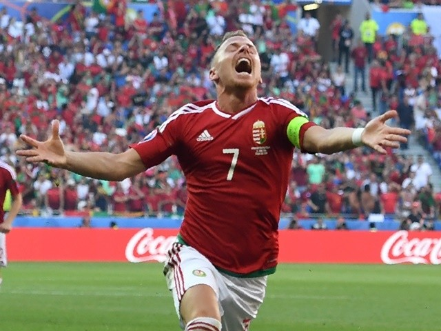 Balazs Dzsudzsak celebrates scoring during the Euro 2016 Group F match between Hungary and Portugal on June 22, 2016