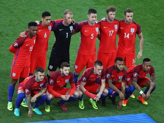 England players line up ahead of the Euro 2016 Group B match against Slovakia on June 20, 2016