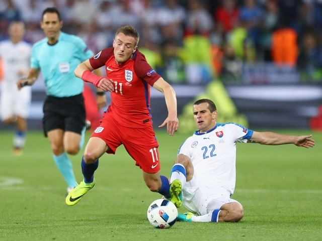 Viktor Pecovsky fouls Jamie Vardy to earn a yellow card during the Euro 2016 Group B match between Slovakia and England on June 20, 2016