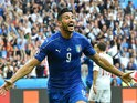 Italy's forward Pelle celebrates after scoring a goal during the Euro 2016 round of 16 football match between Italy and Spain at the Stade de France stadium in Saint-Denis, near Paris, on June 27, 2016. Italy won the match 2-0