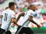 Jerome Boateng celebrates scoring the opening goal during the Euro 2016 RO16 match between Germany and Slovakia on June 26, 2016