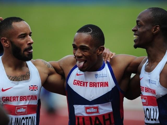 Jason Elington, CJ Ujah and James Dasaolu celebrate after the men's 100m final at the British Championships on June 25, 2016