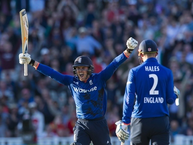 Jason Roy celebrates reaching his century during the second ODI between England and Sri Lanka  on June 24, 2016