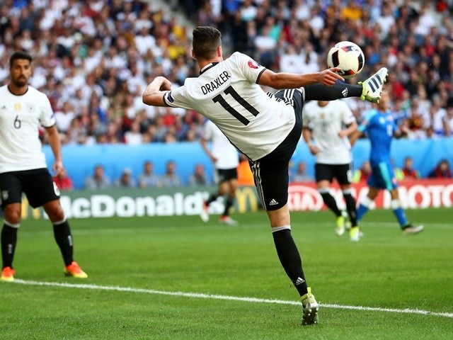 Julian Draxler scores his side's third goal during the Euro 2016 RO16 match between Germany and Slovakia on June 26, 2016