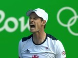 Andy Murray celebrates reaching the semi-finals of the Rio Olympics on August 12, 2016