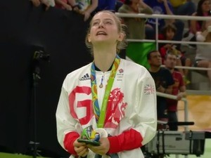 Team GB's Bryony Page celebrates winning trampolining silver at the Rio Olympics on August 12, 2016