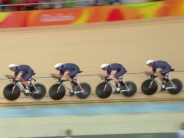 Team GB's men's pursuit team in action on their way to Olympic gold on August 12, 2016