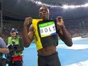 Usain Bolt celebrates winning the men's 100m on August 14, 2016
