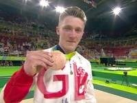 Nile Wilson celebrates winning bronze for Team GB at the Rio Olympics on August 16, 2016