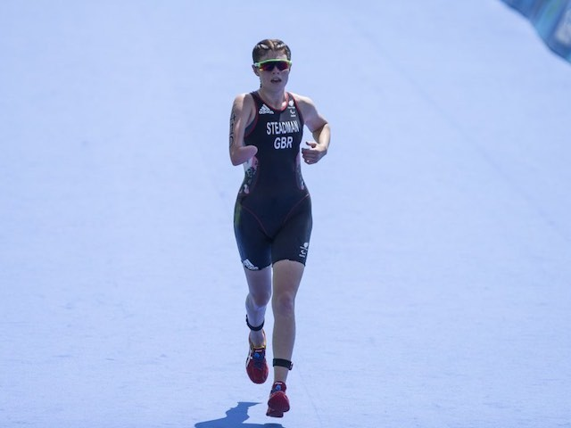 Lauren Steadman in action during the women's PT4 triathlon during the Paralympic Games in Rio de Janeiro on September 11, 2016