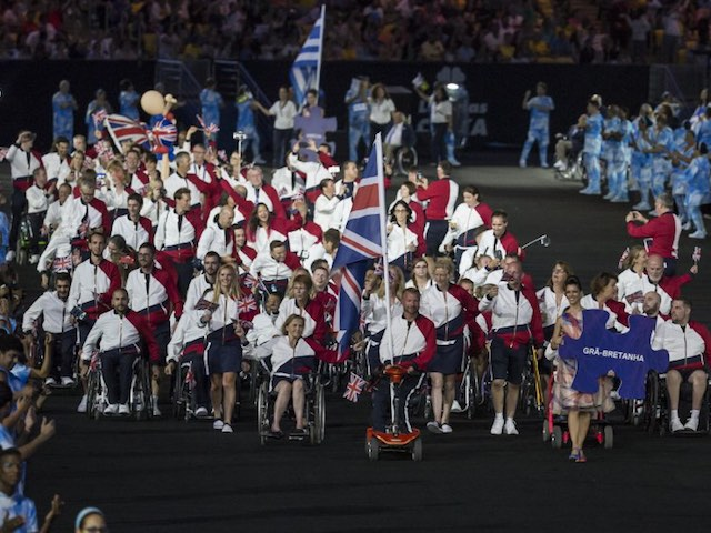 Team GB enter the Maracana during the Paralympics opening ceremony in Rio de Janeiro on September 7, 2016