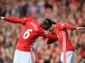 Paul Pogba and Jesse Lingard celebrate during the game between Manchester United and Leicester City on September 24, 2016