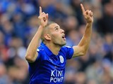 Islam Slimani celebrates scoring for Leicester City on September 17, 2016