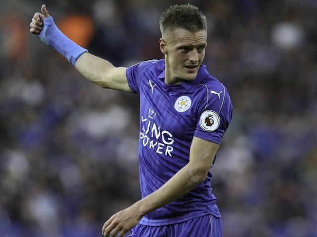 The oddly attractive Jamie Vardy in action for Leicester City on August 20, 2016