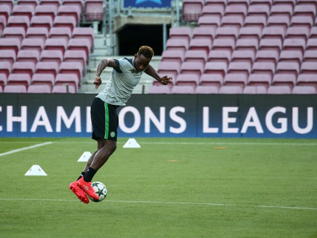 Celtic striker Moussa Dembele in training ahead of his side's Champions League clash with Barcelona at the Camp Nou on September 13, 2016