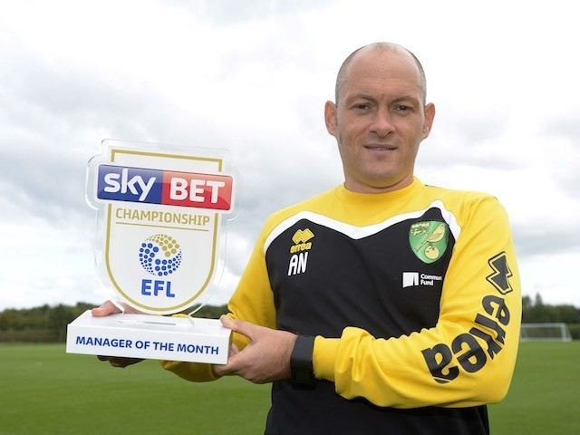 Alex Neil poses with his Manager of the Month award for September 2016