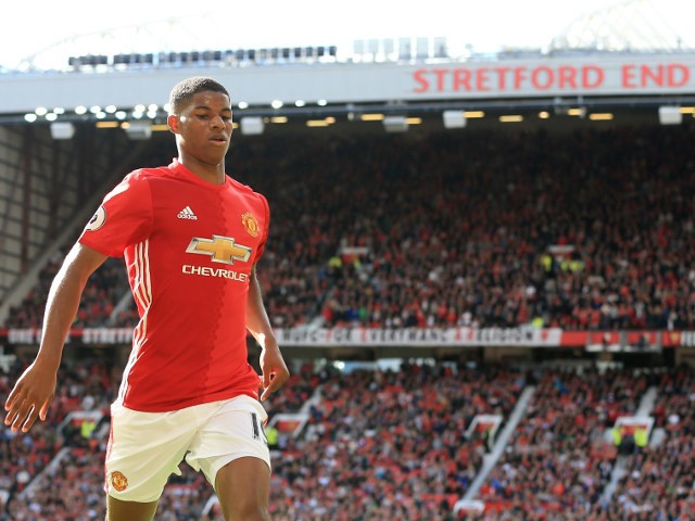 Manchester United striker Marcus Rashford in action for his side during their Premier League clash with Stoke City at Old Trafford on October 2, 2016