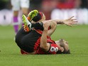 Bournemouth midfielder Harry Arter goes down injured during his side's Premier League clash with Hull City at the Vitality Stadium on October 15, 2016