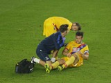 Crystal Palace defender Scott Dann goes down injured during the EFL Cup match against Southampton at St Mary's on September 21, 2016
