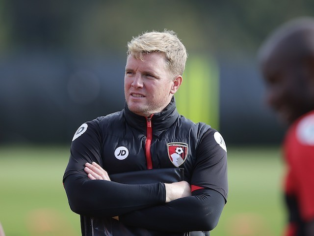 Eddie Howe watches on during a Bournemouth training session on October 12, 2016