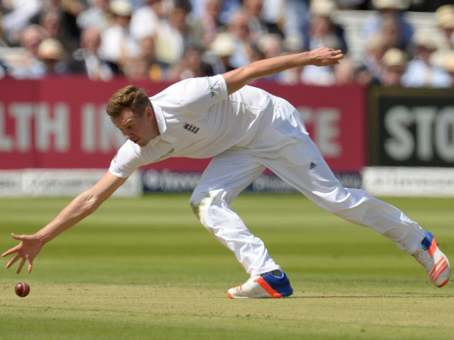 England bowler Jake Ball in action during the first Test between England and Pakistan at Lord's on July 14, 2016