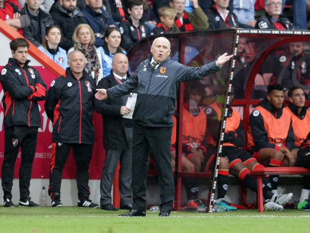 Hull City manager Mike Phelan watches on as his side slump to a 6-1 defeat at the hands of Bournemouth at the Vitality Stadium on October 15, 2016
