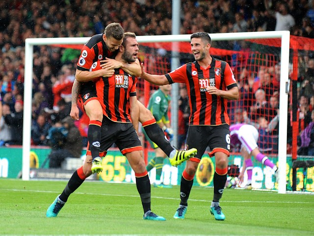 Bournemouth defender Steve Cook celebrates after scoring during his side's 6-1 Premier League win over Hull City at the Vitality Stadium on October 15, 2016