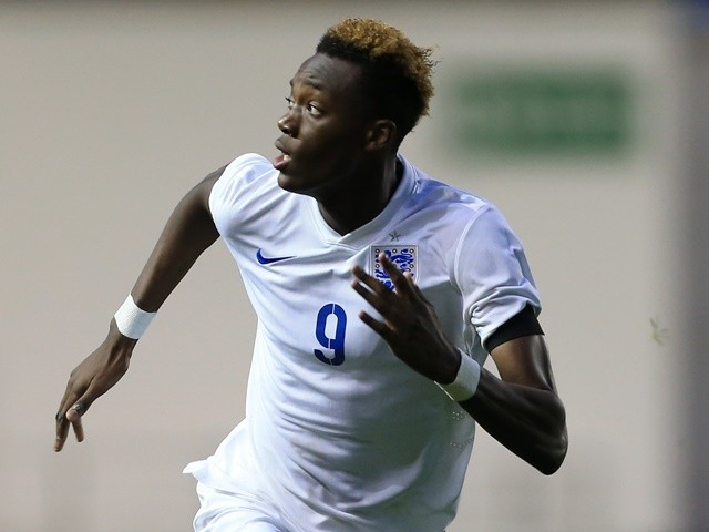 Tammy Abraham represents England Under-19s against Japan Under-19s on November 15, 2015