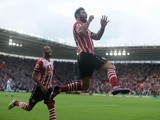Charlie Austin celebrates making it 1-0 with Nathan Redmond against Burnley at St Mary's Stadium on October 16, 2016