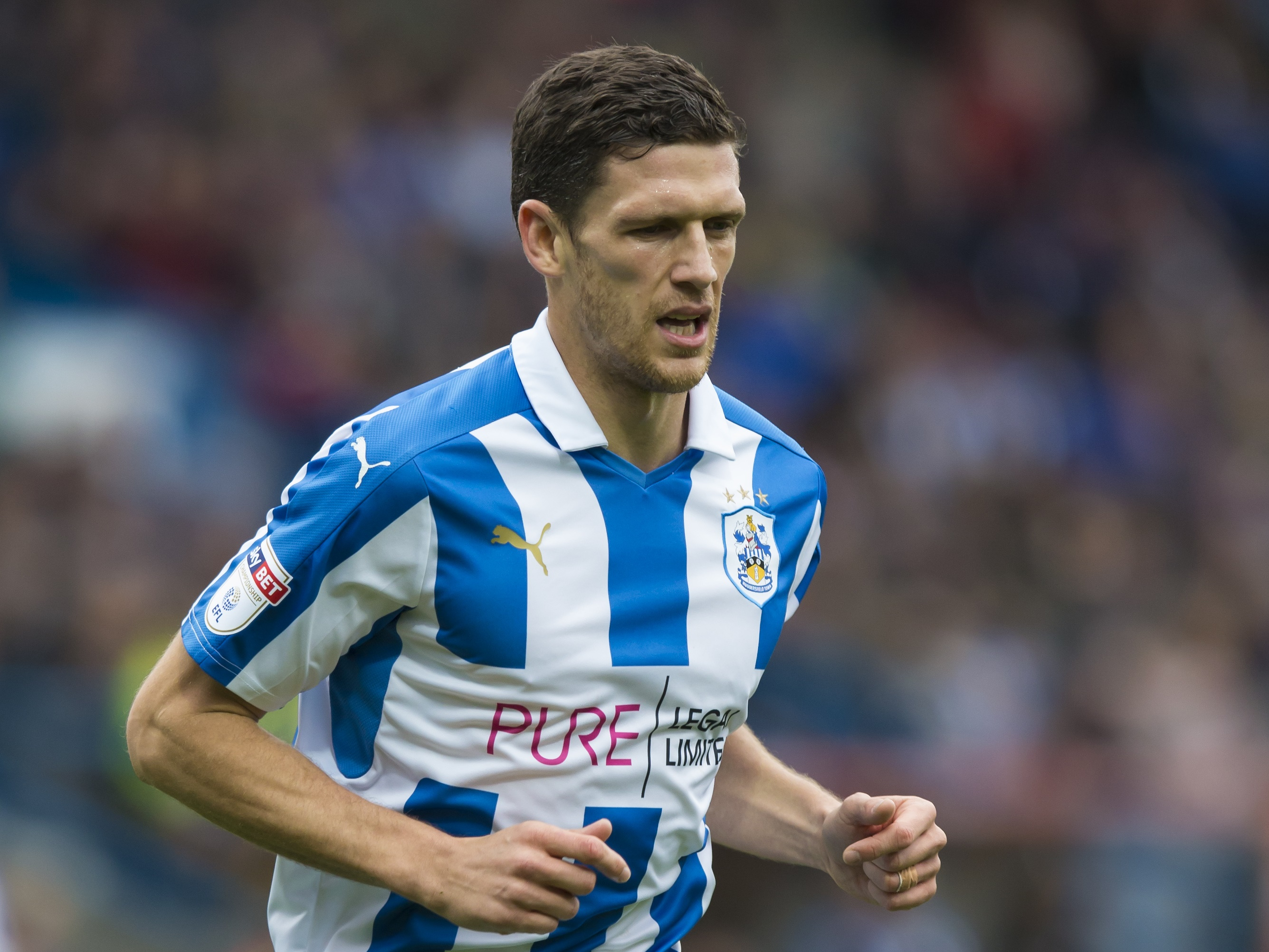 Huddersfield Town defender Mark Hudson during the Championship match against Sheffield Wednesday on October 16, 2016