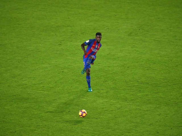 Samuel Umtiti in action for Barcelona during their La Liga clash with Granada at the Camp Nou on October 29, 2016