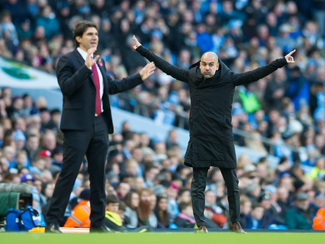Middlesbrough manager Aitor Karanka on the touchline with Pep Guardiola during his side's Premier League clash with Manchester City at the Etihad Stadium on November 5, 2016