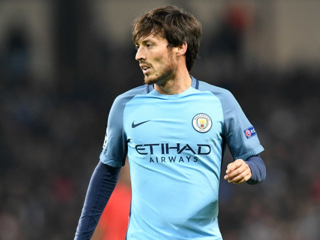 David Silva of Manchester City in action during his side's Champions League clash with Barcelona at the Etihad Stadium on November 1, 2016