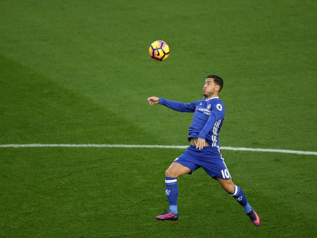Chelsea midfielder Eden Hazard in action during his side's Premier League clash with Southampton at St Mary's Stadium on October 30, 2016